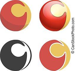 平ら, 錠, 困惑, 隔離された, 印, 球, 黒, 白, 白,  versions, 3D