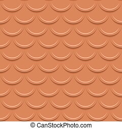 Clay tile roof seamless vector pattern.