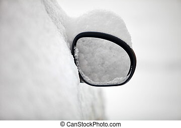 rearview mirror covered with snow - Car rearview mirror...