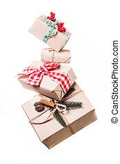 Christmas gift boxes levitation isolated on white background
