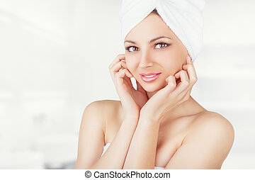 Woman - Young beautiful woman with towel on a white...