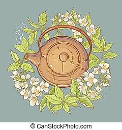 jasmine tea vector illustration - Illustration with teapot...