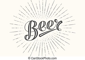 Hand drawn lettering Beer on chalkboard background