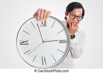 Funny Asian Man With a Clock - Photo image portrait of a...