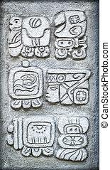 Ancient Mayan hieroglyphs - Set of ancient Mayan hieroglyph