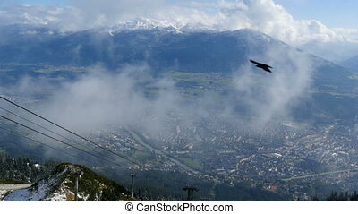 Innsbruck high angle view from mountain with alps in...