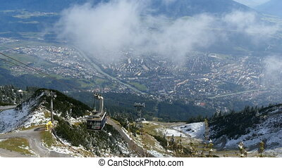 Cable car moving down the alps at Innsbruck