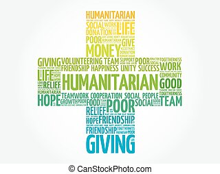 Humanitarian word cloud collage, cross concept