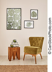 Room with monstera wall decor - White room with monstera...