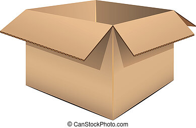 Empty cardboard box over white. EPS 8, AI, JPEG