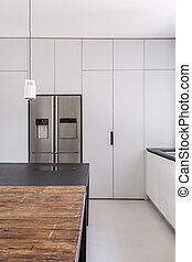 Simple functional kitchen with white walls and steel...