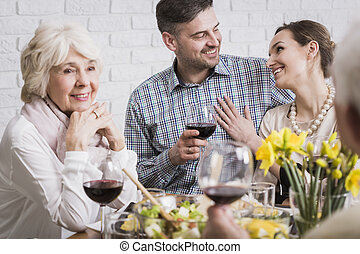 Couple celebrating anniversary with parents - Beautiful...