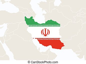 Asia with highlighted Iran map.