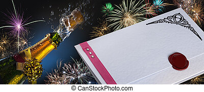 Invitation - Fizz and Fireworks - Blank Party Invitation...