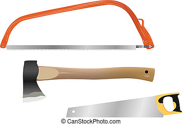wood cutting tools - set of vector wood cutting tools