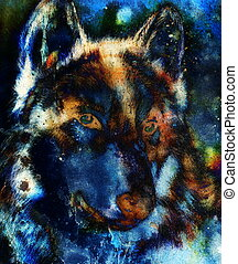 timber wolf head on abstract structured background,...