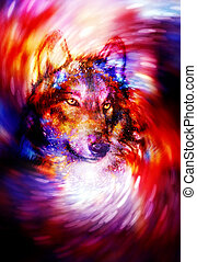 magical wolf in space light swirl, computer graphic collage....
