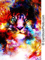 magical space tiger, multicolor computer graphic collage.