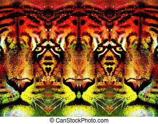 tiger face ornamental collage with repeated features,...