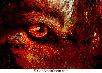 magical wolfs eye, computer graphic collage closeup view. -...