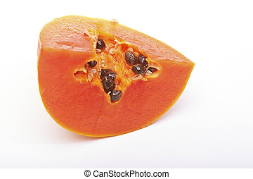 sliced papaya - papaya and slice isolated on white...