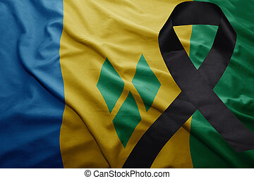 flag of saint vincent and the grenadines with black mourning...