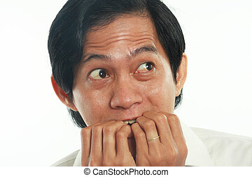 Worried Asian Businessman in Scared Gesture - Photo image...