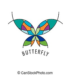 vector logo butterfly - vector logo schematic butterfly with...