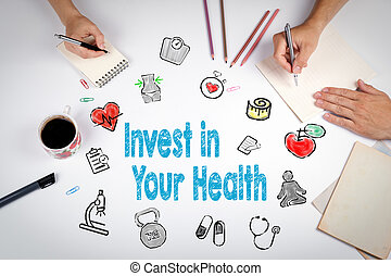 Invest in your health concept. Healty lifestyle background. The meeting at the white office table