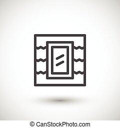 Roof window line icon