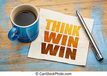 Think win-win concept on napkin