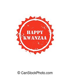 illustration of a stamp for Happy Kwanzaa. - illustration of...