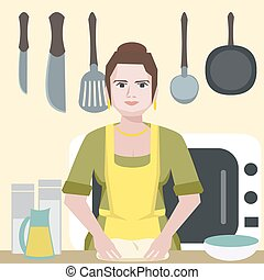 enthusiastic funny woman character at kitchen - vector...