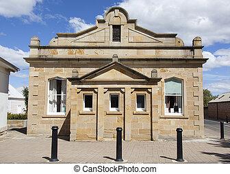 Tasmanian Old Buildings - The historic house on a main...