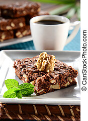 Chocolate Brownie - Snack time with brownie and coffee