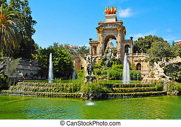 Fountain of Parc de la Ciutadella, in Barcelona, Spain - A...
