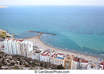 View of Postiguet Beach in Alicante