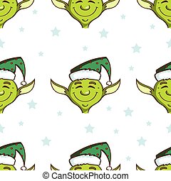 Green Elves Seamless Pattern