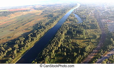 View on river from hot air balloon