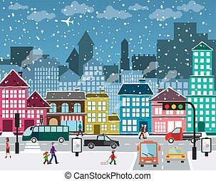 Winter town - Winter Christmas urban landscape. View of city...