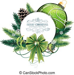 Christmas card with green bauble