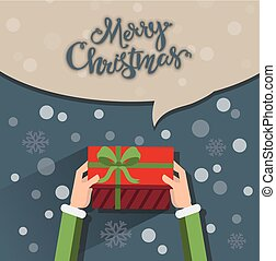 Christmas greetings - Close up of elf hands holding a...
