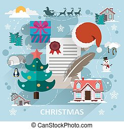 Christmas scene flat style - Winter scene with Christmas...