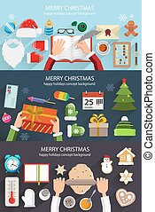 Christmas situation backgrounds - Santa, elf and pastry chef...