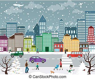Winter urban landscape - Winter Christmas urban landscape....