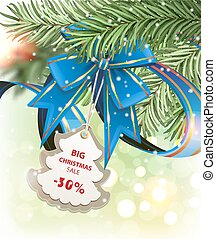 Christmas sale - Blue ribbon, bow with a discount coupon and...