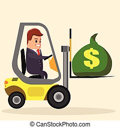 Vector businessman or manager driving a forklift. truck with money. Flat stock illustration. loader