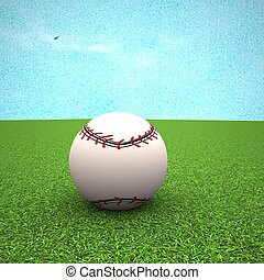 Baseball over green grass field, 3d rendering