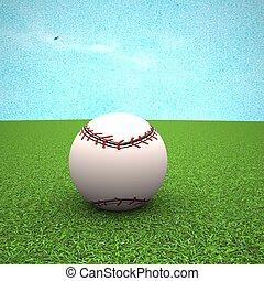 Baseball over green grass field, 3d rendering