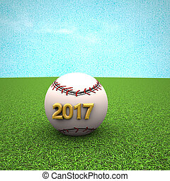 Baseball with year 2017 over green grass, 3d rendering